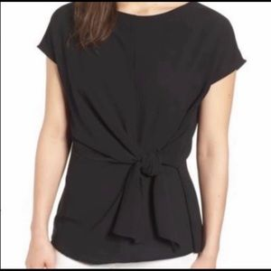 NWOT Gibson Black Front Side Tie Blouse PXS